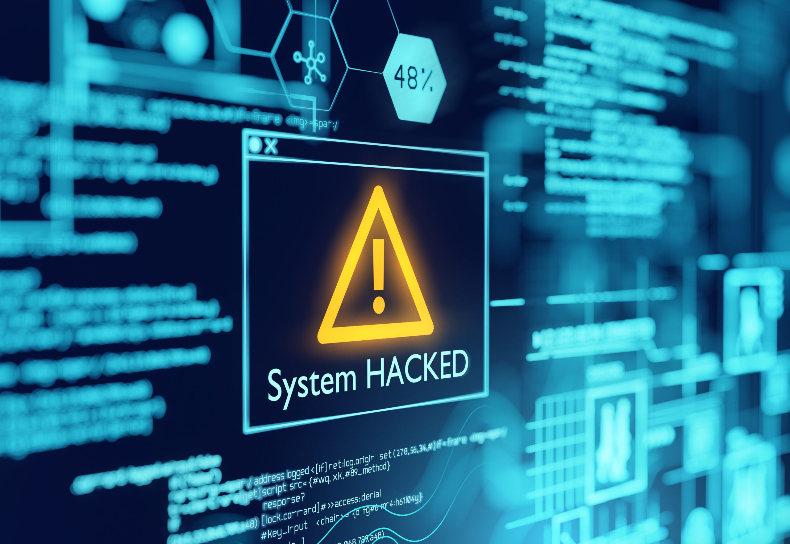 A computer popup box screen warning of a system being hacked, compromised software environment. 3D illustration.
